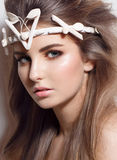 Glamour portrait of beautiful woman model with Stock Images