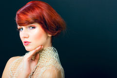 Glamour portrait beauty red hair woman hair saloon Royalty Free Stock Photos