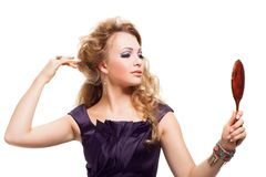 Glamour portrait of blond woman with mirror Royalty Free Stock Photos