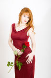 Glamour Portrait Of Sexy Woman With Red Rose