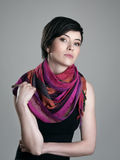 Glamour portrait of pretty short hair beauty model with colorful neckerchief Stock Image