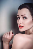 Glamour portrait brunette beautiful girl clean skin face Stock Images