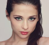Glamour Portrait of sexy woman. With red lips and green passion eyes Royalty Free Stock Photo