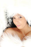 Glamour Portrait of sexy woman. On fur background Stock Photography
