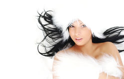 Glamour Portrait of sexy woman. On fur background Royalty Free Stock Image