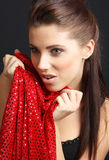 Glamour portrait of sexy woman. On red background Royalty Free Stock Images