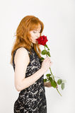Glamour portrait of sexy woman with red rose Royalty Free Stock Photos