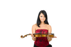 Glamour portrait of sexy woman with violin Stock Photo