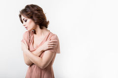 Glamour portrait woman in a dress. Stock Photo