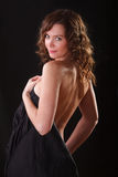 Glamour portret of beauty woman with naked back and shoulders. Glamour portret of beauty woman with naked back and arms stock image