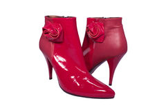 Glamour red ankle boots Stock Photos
