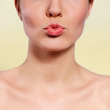 Glamour Red gloss lips Stock Photography