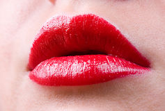 Glamour Red Gloss Lips Stock Photos