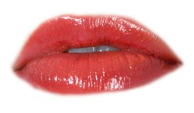 Glamour red gloss lips gesture Royalty Free Stock Photography