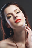 Glamour red lips Stock Photography