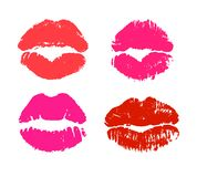 Glamour red and pink lipstick kiss prints stock illustration