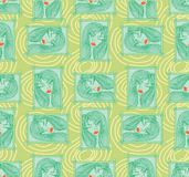 Glamour seamless pattern with beautiful girl. Stock Photos