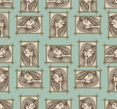 Glamour seamless pattern with beautiful girl. Stock Photography