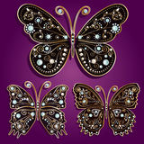 Glamour set collections of vintage golden butterfl. Ies with elegance ornament encrusted with blue jewels on purple background. with shadows Vector illustration Stock Photo