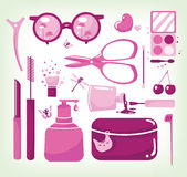 Glamour set of cosmetic tools Royalty Free Stock Photography