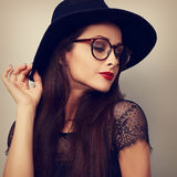 Glamour sexy makeup woman profile in fashion glasses and dark bl Royalty Free Stock Photography