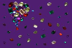 Glamour shiny stones sparkling jewelry glitters gems frame background. Love Colorful glamour shiny stones sparkling jewelry glitters gems frame background Royalty Free Stock Image