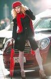 Attractive  woman in a winter fashion shot Stock Photo