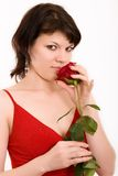 Glamour sight. The girl in a red dress with a rose stock photos