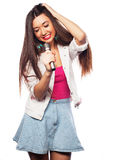 Glamour singer girl Royalty Free Stock Photos