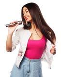 glamour singer girl Royalty Free Stock Photo