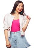 Glamour singer girl Stock Image