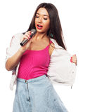 Glamour singer girl Royalty Free Stock Photography