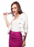 Glamour singer girl Stock Photos