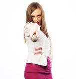 Glamour singer girl Royalty Free Stock Image