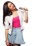 Glamour singer girl Stock Images