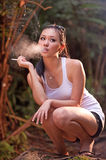 Glamour smoking girl 2 Royalty Free Stock Images