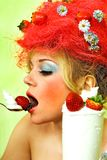 Glamour Strawberry girl Royalty Free Stock Photography