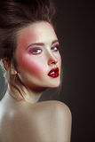 Glamour Style Beautiful Woman With Bright Makeup And Fashion Hai Royalty Free Stock Image