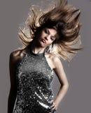 Glamour stylish beautiful woman. With fashion sunglasses and black manicure Royalty Free Stock Image