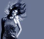 Glamour stylish beautiful woman. With fashion sunglasses and black manicure Royalty Free Stock Photo