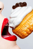 Glamour,valentines,passionate lips Stock Photography
