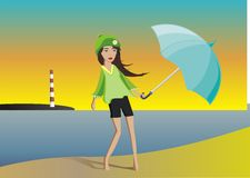 Glamour vector girl walking on the beach. Barefoot young vector girl with an umbrella Royalty Free Stock Photography