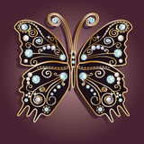 Glamour vector vintage golden butterfly. With elegance ornament encrusted with blue jewels on purple background. with shadow Stock Images