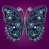 Glamour vector vintage silver butterfly with elega. Nce ornament encrusted with blue jewels on purple background. with shadow Royalty Free Stock Photography