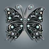 Glamour vector vintage silver butterfly. With elegance ornament encrusted with blue jewels on gray background. with shadow Stock Photos