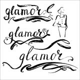 Glamour vector word. Glamour word vector letterynh Stock Photography