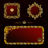 Glamour vintage gold frame decorative red black Stock Photos