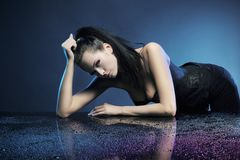 Glamour woman. Over blue background Royalty Free Stock Photo