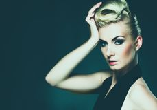 Glamour woman. Beautiful woman with creative hairstyle Royalty Free Stock Image