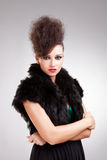 Glamour woman in black dress with fur Stock Photography